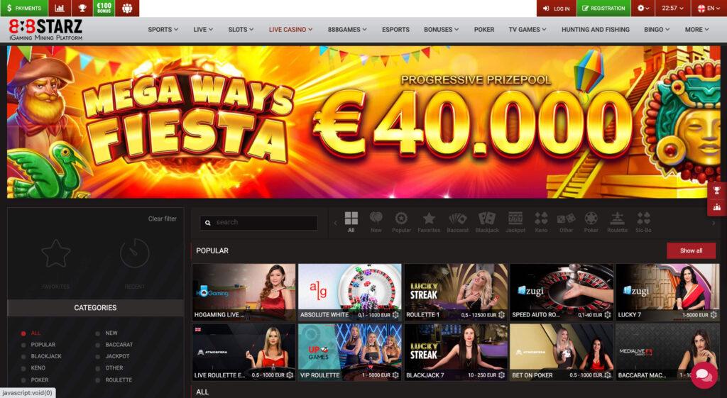 888starz live casino