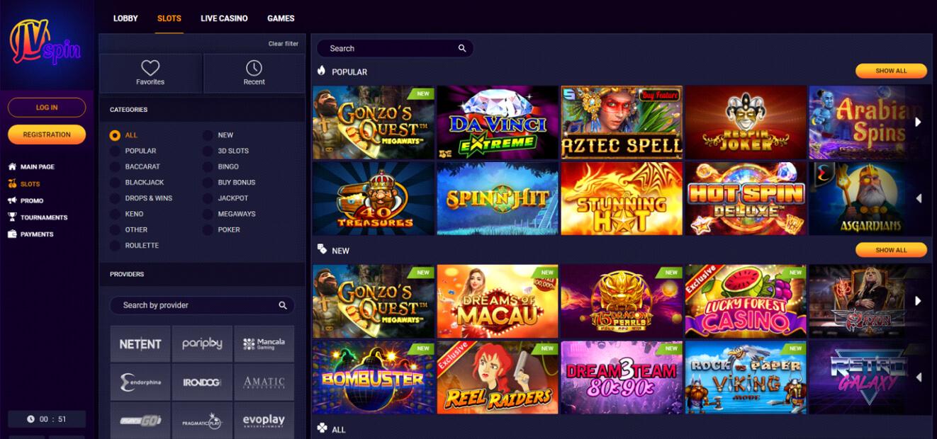 JV Spin Casino Slots