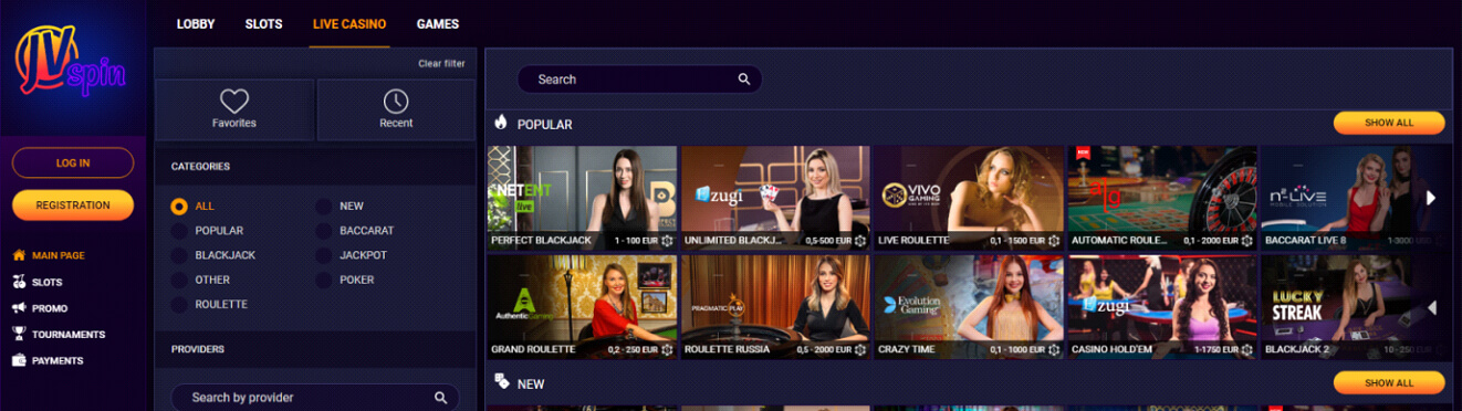 JV Spin Live-Casino Review